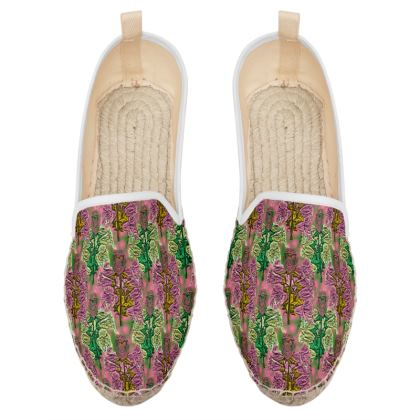 Pink, Green Loafer Espadrilles  Foxglove  Tropical