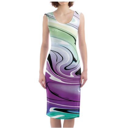 Bodycon Dress - Multicolour Swirling Marble Pattern 7 of 12