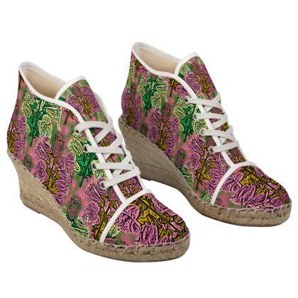 Pink, Green Wedge Espadrilles  Foxglove  Tropical
