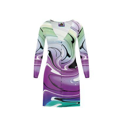 Short Ladies Cardigan - Multicolour Swirling Marble Pattern 7 of 12