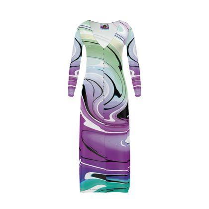 Long Ladies Cardigan - Multicolour Swirling Marble Pattern 7 of 12
