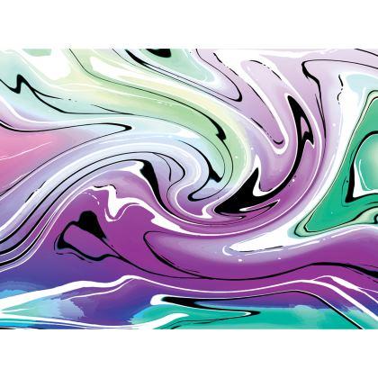 Knee Length Flared Skirt - Multicolour Swirling Marble Pattern 7 of 12