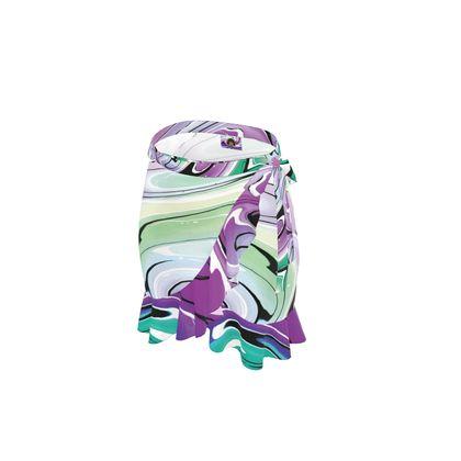 Short Flounce Skirt - Multicolour Swirling Marble Pattern 7 of 12