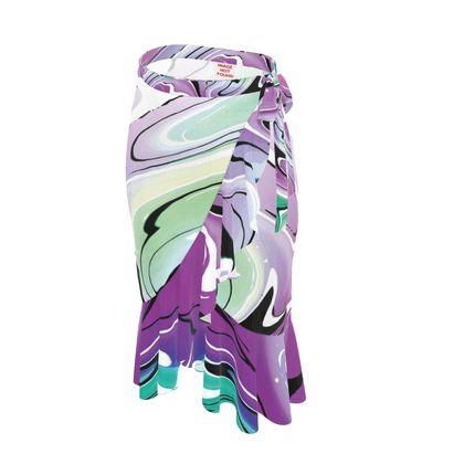 Long Flounce Skirt - Multicolour Swirling Marble Pattern 7 of 12