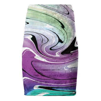 Pencil Skirt - Multicolour Swirling Marble Pattern 7 of 12