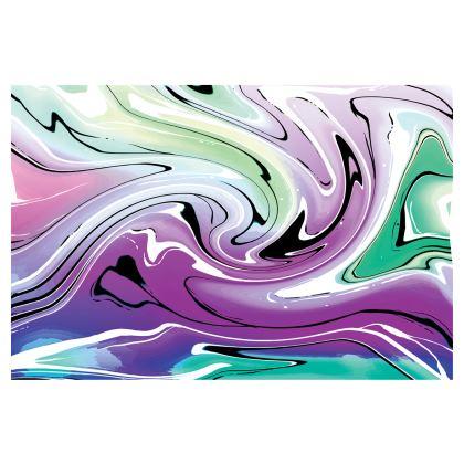 Midi Skirt - Multicolour Swirling Marble Pattern 7 of 12