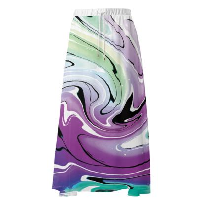 Maxi Skirt - Multicolour Swirling Marble Pattern 7 of 12