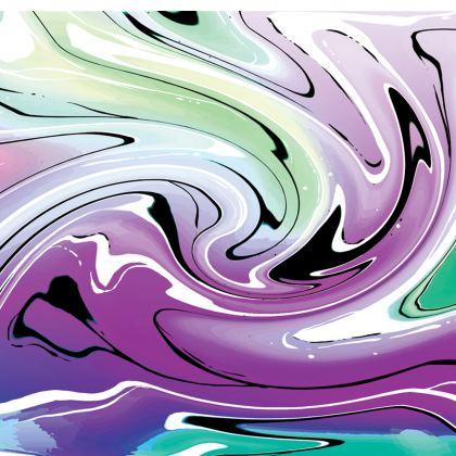 Short Slip Dress - Multicolour Swirling Marble Pattern 7 of 12