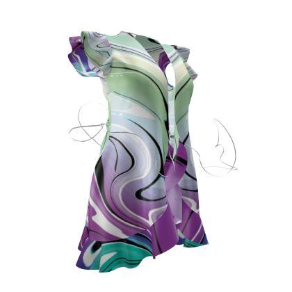 Tea Dress - Multicolour Swirling Marble Pattern 7 of 12
