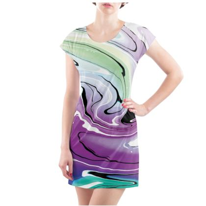 Ladies Tunic T Shirt - Multicolour Swirling Marble Pattern 7 of 12