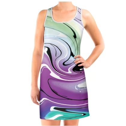 Vest Dress - Multicolour Swirling Marble Pattern 7 of 12