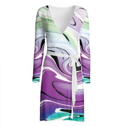 Wrap Dress - Multicolour Swirling Marble Pattern 7 of 12