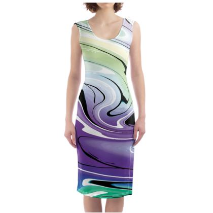 Bodycon Dress - Multicolour Swirling Marble Pattern 8 of 12