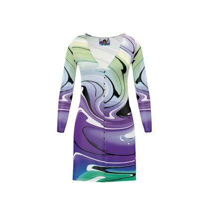Short Ladies Cardigan - Multicolour Swirling Marble Pattern 8 of 12
