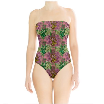 Pink, Green Swimsuit  Foxglove  Tropical