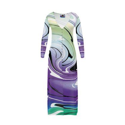 Long Ladies Cardigan - Multicolour Swirling Marble Pattern 8 of 12
