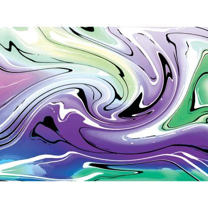 Knee Length Flared Skirt - Multicolour Swirling Marble Pattern 8 of 12