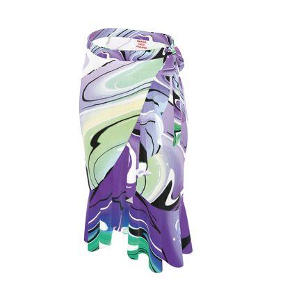 Long Flounce Skirt - Multicolour Swirling Marble Pattern 8 of 12
