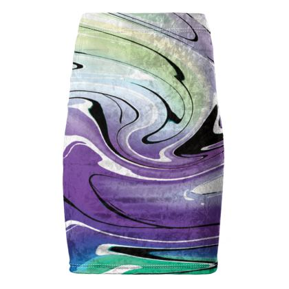 Pencil Skirt - Multicolour Swirling Marble Pattern 8 of 12