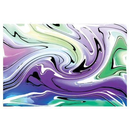 Midi Skirt - Multicolour Swirling Marble Pattern 8 of 12