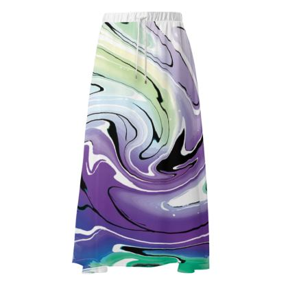 Maxi Skirt - Multicolour Swirling Marble Pattern 8 of 12