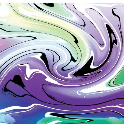 Short Slip Dress - Multicolour Swirling Marble Pattern 8 of 12