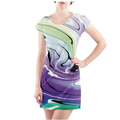 Ladies Tunic T Shirt - Multicolour Swirling Marble Pattern 8 of 12