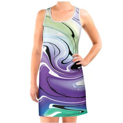 Vest Dress - Multicolour Swirling Marble Pattern 8 of 12