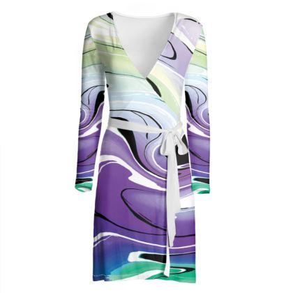 Wrap Dress - Multicolour Swirling Marble Pattern 8 of 12