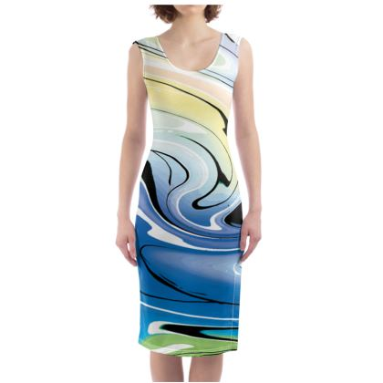 Bodycon Dress - Multicolour Swirling Marble Pattern 9 of 12