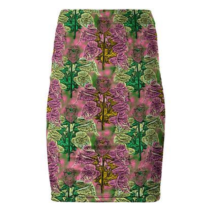 Pink, Green Pencil Skirt  Foxglove  Tropical