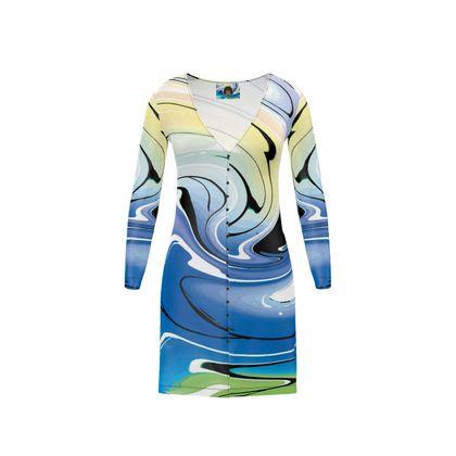 Short Ladies Cardigan - Multicolour Swirling Marble Pattern 9 of 12
