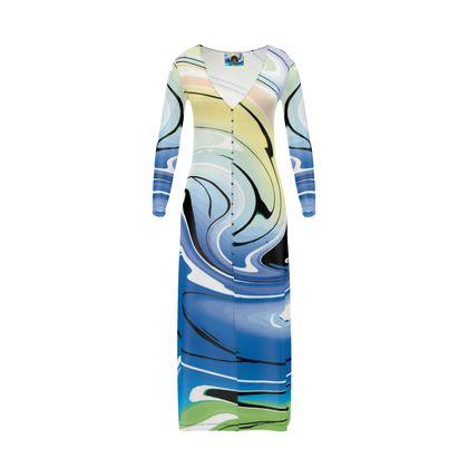 Long Ladies Cardigan - Multicolour Swirling Marble Pattern 9 of 12