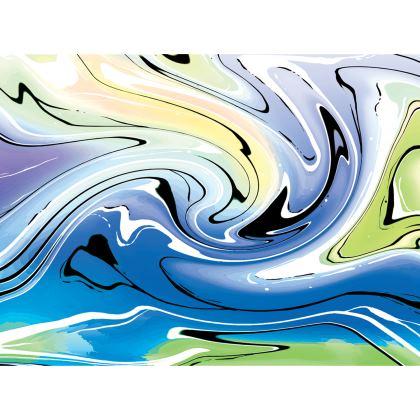 Knee Length Flared Skirt - Multicolour Swirling Marble Pattern 9 of 12