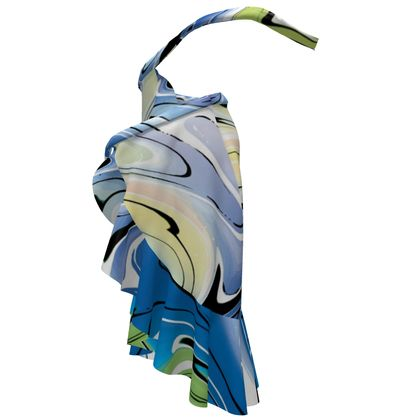 Long Flounce Skirt - Multicolour Swirling Marble Pattern 9 of 12