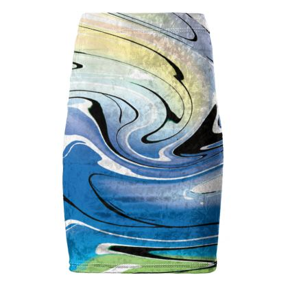 Pencil Skirt - Multicolour Swirling Marble Pattern 9 of 12