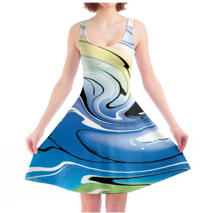 Skater Dress - Multicolour Swirling Marble Pattern 9 of 12