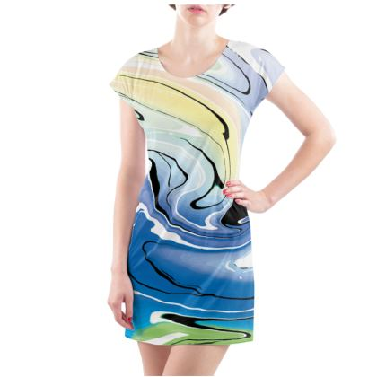 Ladies Tunic T Shirt - Multicolour Swirling Marble Pattern 9 of 12