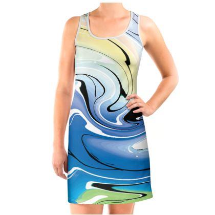 Vest Dress - Multicolour Swirling Marble Pattern 9 of 12