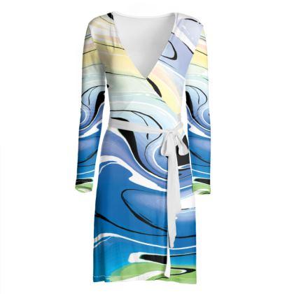 Wrap Dress - Multicolour Swirling Marble Pattern 9 of 12