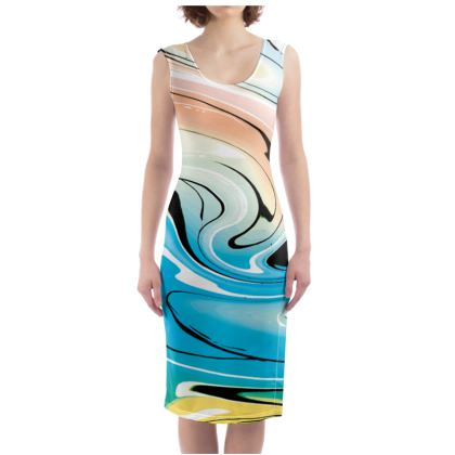Bodycon Dress - Multicolour Swirling Marble Pattern 10 of 12