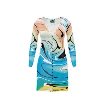 Short Ladies Cardigan - Multicolour Swirling Marble Pattern 10 of 12