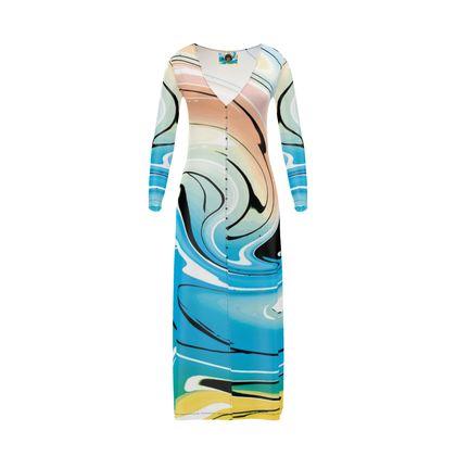 Long Ladies Cardigan - Multicolour Swirling Marble Pattern 10 of 12