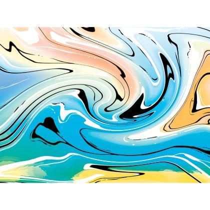 Knee Length Flared Skirt - Multicolour Swirling Marble Pattern 10 of 12
