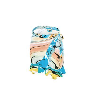 Short Flounce Skirt - Multicolour Swirling Marble Pattern 10 of 12