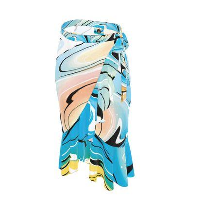 Long Flounce Skirt - Multicolour Swirling Marble Pattern 10 of 12