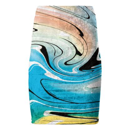 Pencil Skirt - Multicolour Swirling Marble Pattern 10 of 12
