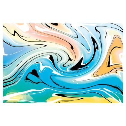 Midi Skirt - Multicolour Swirling Marble Pattern 10 of 12