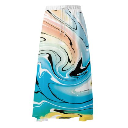 Maxi Skirt - Multicolour Swirling Marble Pattern 10 of 12