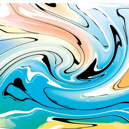 Short Slip Dress - Multicolour Swirling Marble Pattern 10 of 12